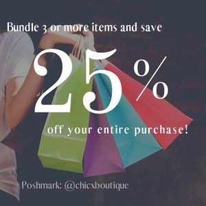 Bundle 3 items from my closet and get 25% off!